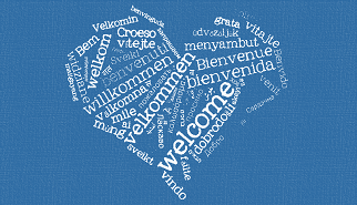 Heart shape welcome in different languages